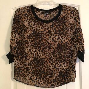 Leopard Three Quarter Sleeve Top